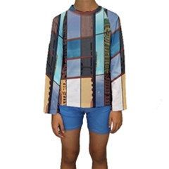 Glass Facade Colorful Architecture Kids  Long Sleeve Swimwear