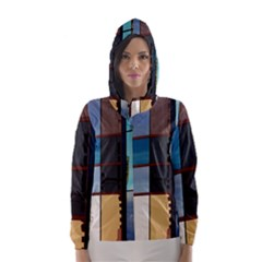 Glass Facade Colorful Architecture Hooded Wind Breaker (Women)