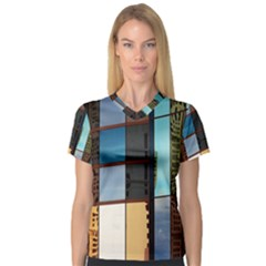 Glass Facade Colorful Architecture Women s V Neck Sport Mesh Tee