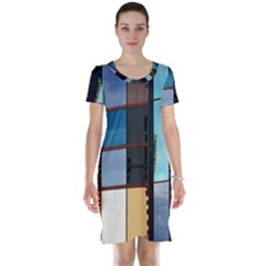 Glass Facade Colorful Architecture Short Sleeve Nightdress