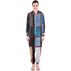 Glass Facade Colorful Architecture Hooded Jumpsuit (Ladies)