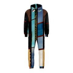 Glass Facade Colorful Architecture Hooded Jumpsuit (kids)