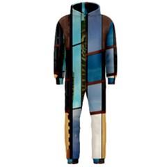 Glass Facade Colorful Architecture Hooded Jumpsuit (Men)