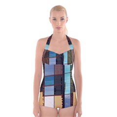 Glass Facade Colorful Architecture Boyleg Halter Swimsuit