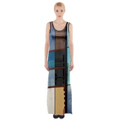 Glass Facade Colorful Architecture Maxi Thigh Split Dress