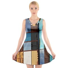 Glass Facade Colorful Architecture V Neck Sleeveless Skater Dress
