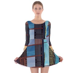 Glass Facade Colorful Architecture Long Sleeve Velvet Skater Dress