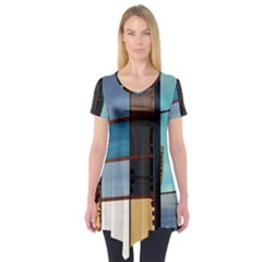 Glass Facade Colorful Architecture Short Sleeve Tunic