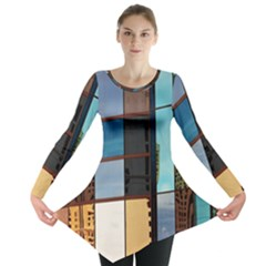Glass Facade Colorful Architecture Long Sleeve Tunic