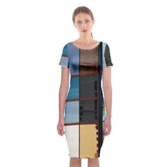 Glass Facade Colorful Architecture Classic Short Sleeve Midi Dress