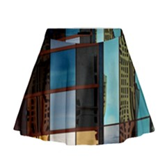 Glass Facade Colorful Architecture Mini Flare Skirt