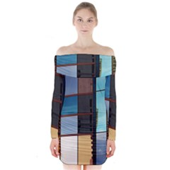 Glass Facade Colorful Architecture Long Sleeve Off Shoulder Dress