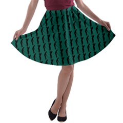 Golf Golfer Background Silhouette A-line Skater Skirt