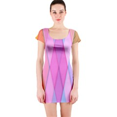 Graphics Colorful Color Wallpaper Short Sleeve Bodycon Dress