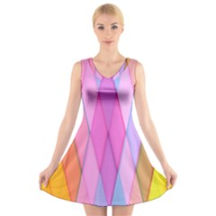 Graphics Colorful Color Wallpaper V Neck Sleeveless Skater Dress