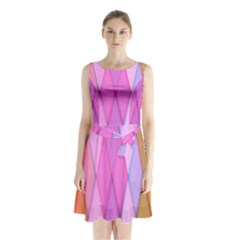 Graphics Colorful Color Wallpaper Sleeveless Chiffon Waist Tie Dress
