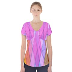 Graphics Colorful Color Wallpaper Short Sleeve Front Detail Top