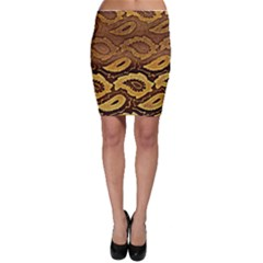 Golden Patterned Paper Bodycon Skirt