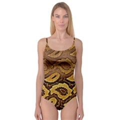 Golden Patterned Paper Camisole Leotard