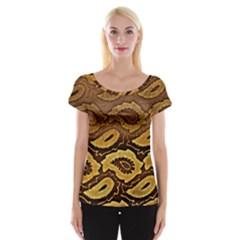 Golden Patterned Paper Women s Cap Sleeve Top