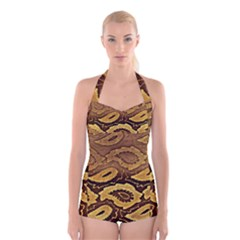 Golden Patterned Paper Boyleg Halter Swimsuit