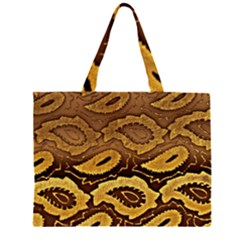 Golden Patterned Paper Large Tote Bag