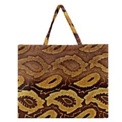 Golden Patterned Paper Zipper Large Tote Bag