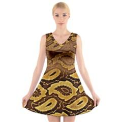 Golden Patterned Paper V Neck Sleeveless Skater Dress
