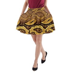 Golden Patterned Paper A Line Pocket Skirt