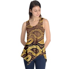 Golden Patterned Paper Sleeveless Tunic