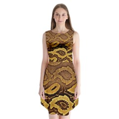 Golden Patterned Paper Sleeveless Chiffon Dress