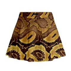 Golden Patterned Paper Mini Flare Skirt