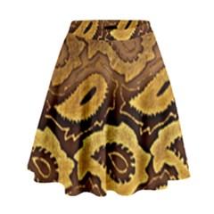 Golden Patterned Paper High Waist Skirt