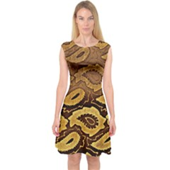 Golden Patterned Paper Capsleeve Midi Dress