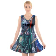 Graffiti Art Urban Design Paint V-Neck Sleeveless Skater Dress