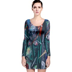 Graffiti Art Urban Design Paint Long Sleeve Velvet Bodycon Dress