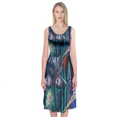Graffiti Art Urban Design Paint Midi Sleeveless Dress