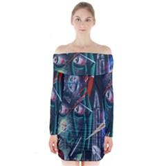Graffiti Art Urban Design Paint Long Sleeve Off Shoulder Dress
