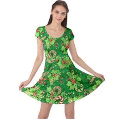Green Holly Cap Sleeve Dresses