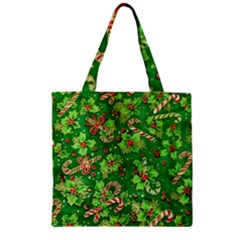Green Holly Zipper Grocery Tote Bag