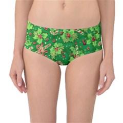 Green Holly Mid Waist Bikini Bottoms