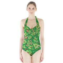 Green Holly Halter Swimsuit