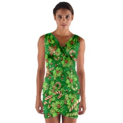 Green Holly Wrap Front Bodycon Dress