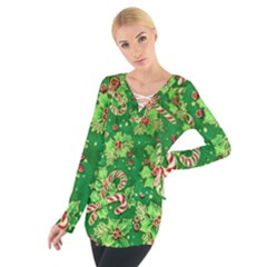 Green Holly Women s Tie Up Tee