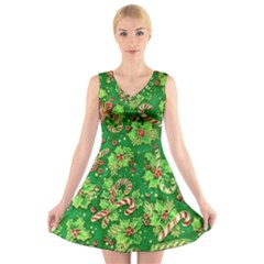 Green Holly V Neck Sleeveless Skater Dress
