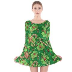 Green Holly Long Sleeve Velvet Skater Dress