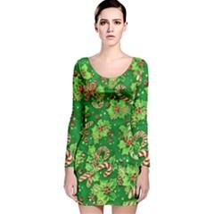 Green Holly Long Sleeve Velvet Bodycon Dress
