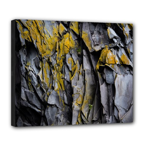 Grey Yellow Stone  Deluxe Canvas 24  X 20