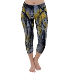 Grey Yellow Stone  Capri Winter Leggings
