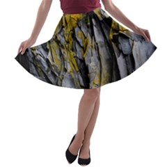 Grey Yellow Stone  A-line Skater Skirt